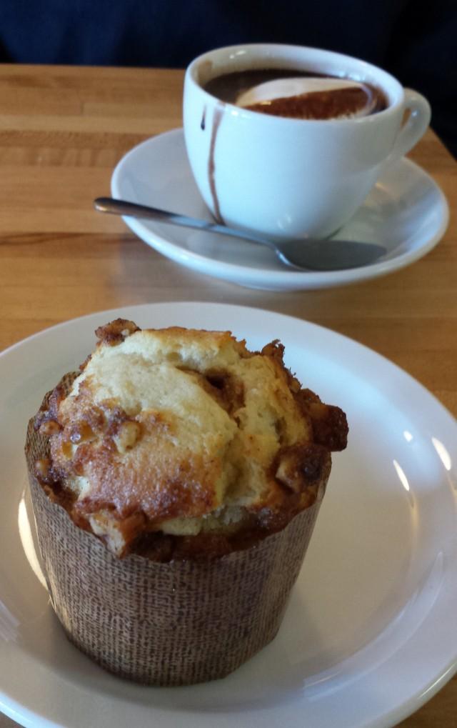 ricotta walnut muffin + hot chocolate